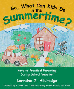 """book cover of """"So, What Can Kids Do in the Summertime? with a house and packed van in front"""