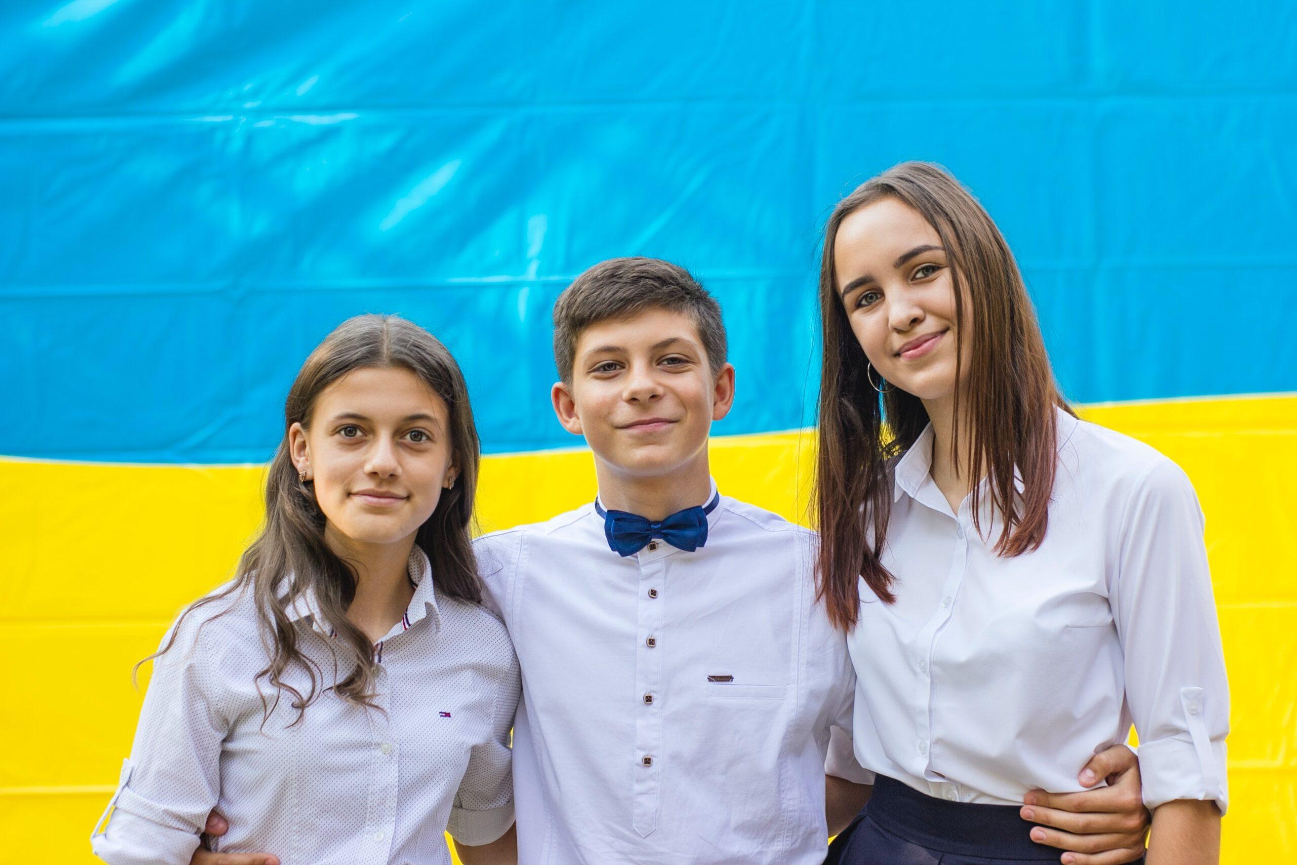 Teenagers in school uniforms