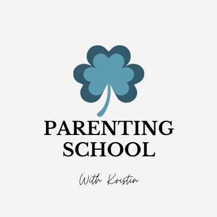 """logo with 3 leaf blue clover symbolizing the mother, father and child """"Parenting School With Kristin"""""""
