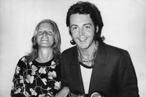 Paul McCartney and his wife Linda attend the 13th Grammy Awards at the Hollywood Palladium, Los Angeles, 16th March 1971. Paul is collecting the award for Best Original Score Written for a Motion Picture or a Television Special on behalf of the Beatles, for the song 'Let It Be'. (Photo by Keystone/Hulton Archive/Getty Images)