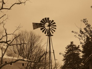 sepia toned windmill