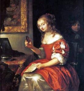 Caspar Netscher (Dutch Baroque Era Painter, c 1635-1684) Young Woman