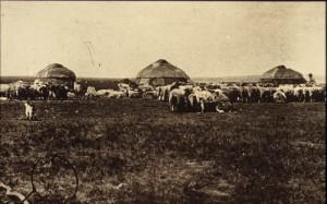 old yurt scene mongolia