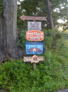 Fur Peace ranch signs