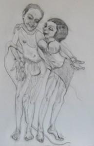 Krishna & Devi charcoal on canvas