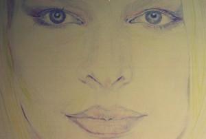 blonde face colored pencil