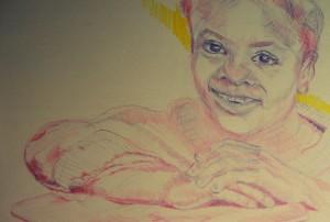 child face colored pencil