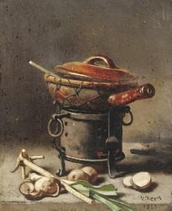 kuechenstilleben-mit-einer-casserolle-auf-einem-stoefchen-davor-lauchgemuese-und-kartoffeln