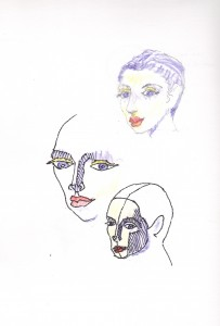 three heads pen and ink