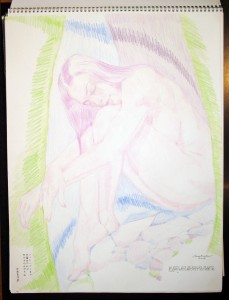 woman on rocks colored pencil