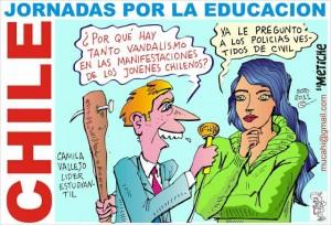 CHILE ESTUDIANTES EN LUCHA CARICATURA W