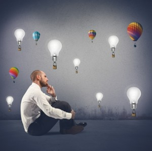 28349335 - concept of creativity of a businessman with flying idea