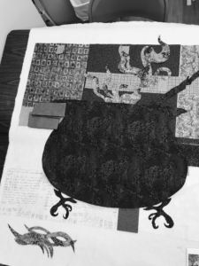 Black and White Image of Cauldron