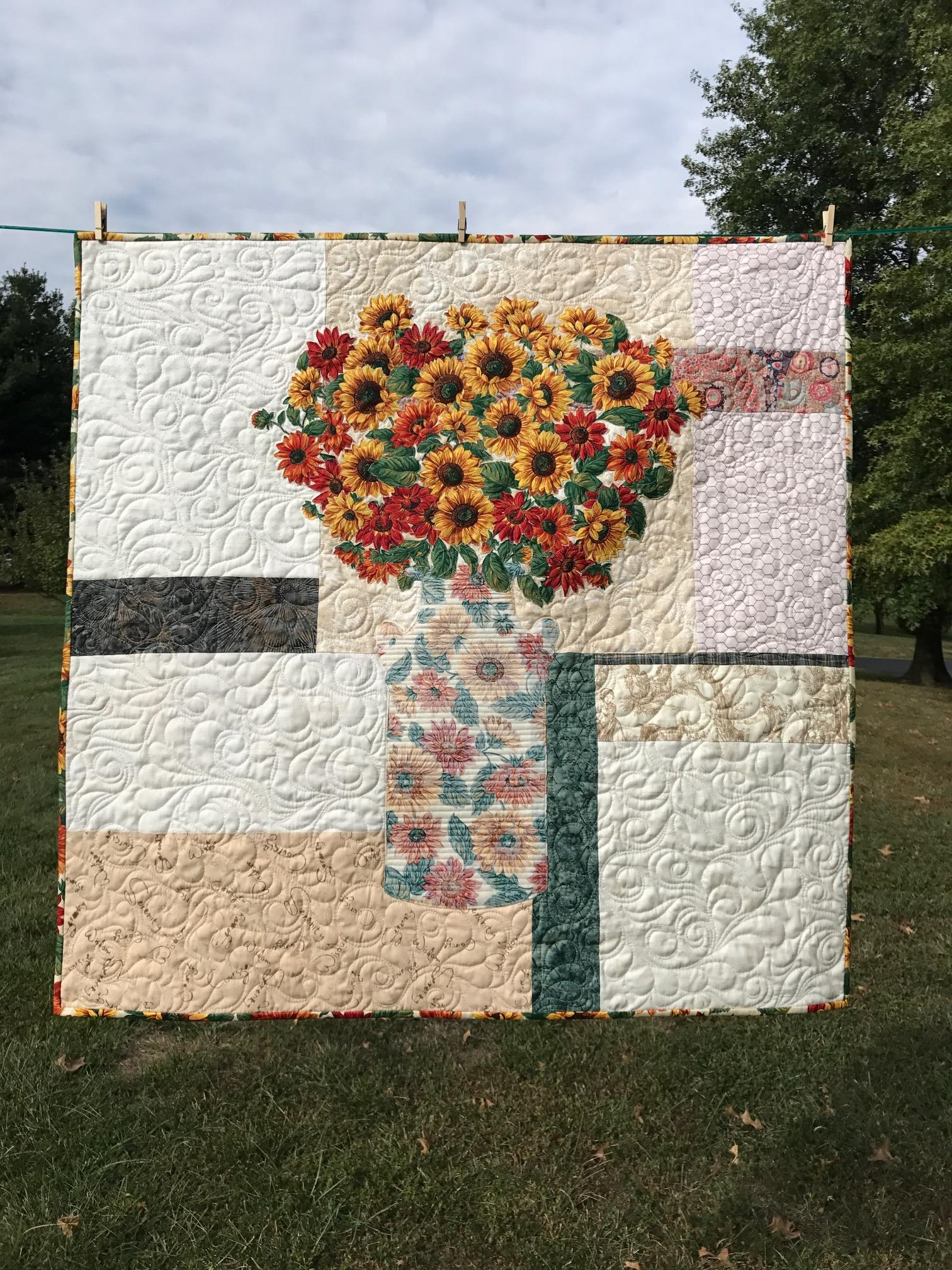 Image of Sunflower Bouquet Wall Quilt