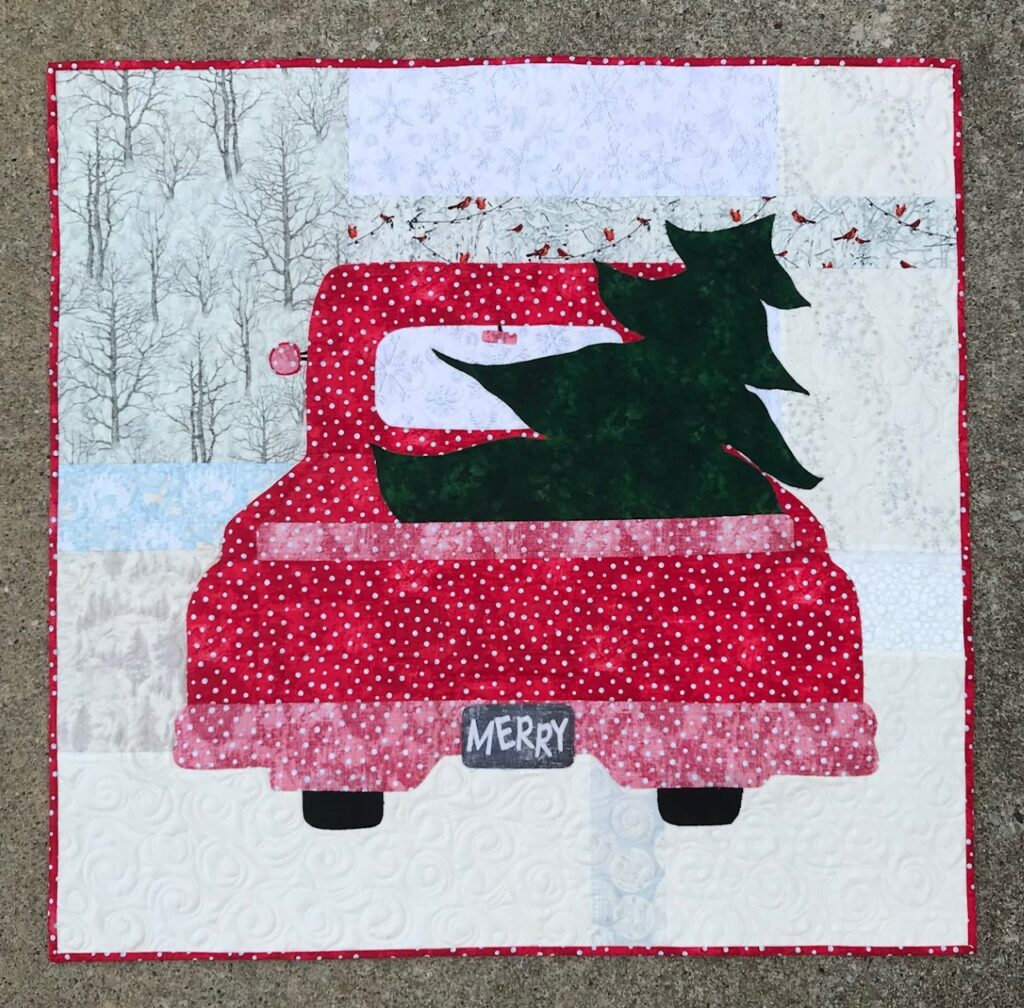image of red truck quilt