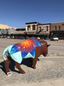 Image of Bison Statue with Quilt