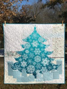 Image of Blue Christmas Tree Quilt