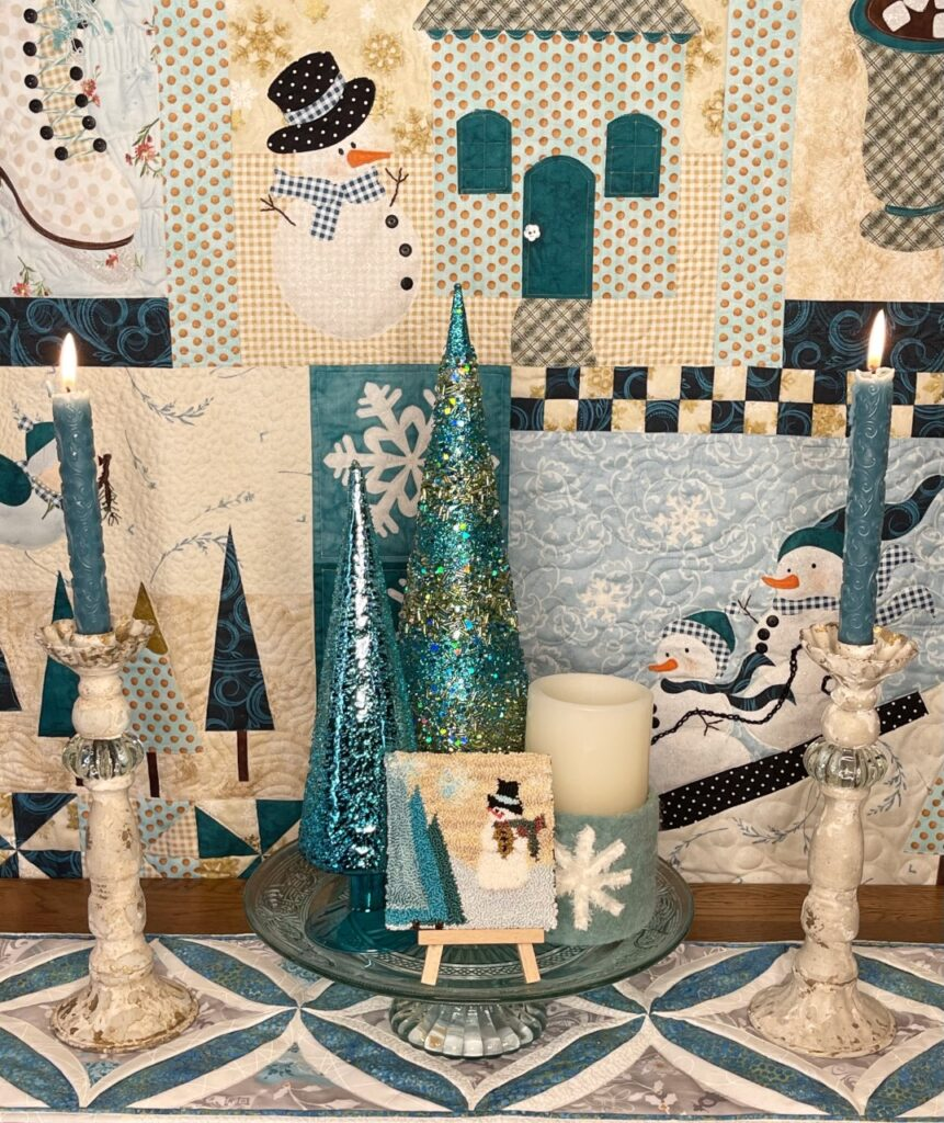 Image of Mr. Snowman with quilt