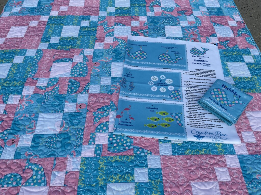 baby quilt with soft book panel