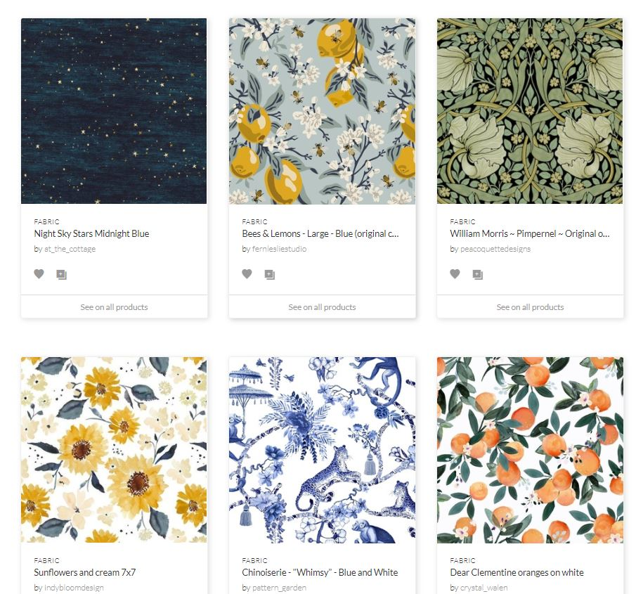 spoonflower's fabric and home decor