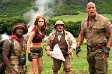 Image of Kevin Hart, Jack Black, Dwayne Johnson and Karen Gillan in Jumanji 2 Welcome to the Jungle