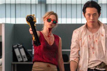 Steven Yeun and Samara Weaving in the 2017 horror movie 'Mayhem'.