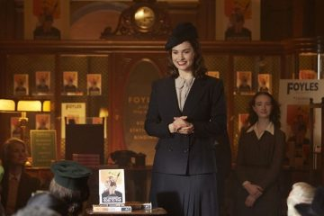 Lily James in the drama/romance movie, The Guernsey Literary and Potato Peel Pie Society (2018)