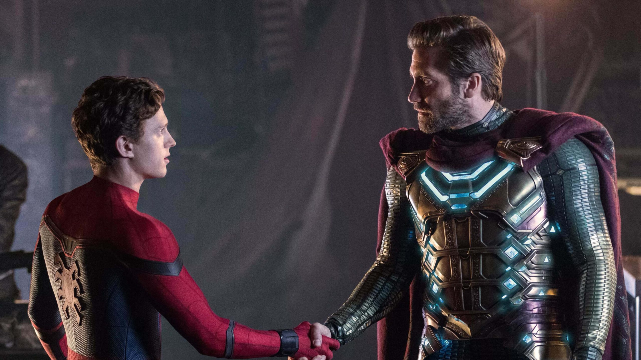 Tom Holland and Jake Gyllenhaal in Spider-Man Far from Home