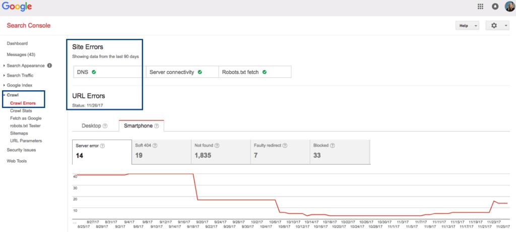google search console crawl errors report