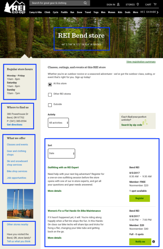 REI location page example