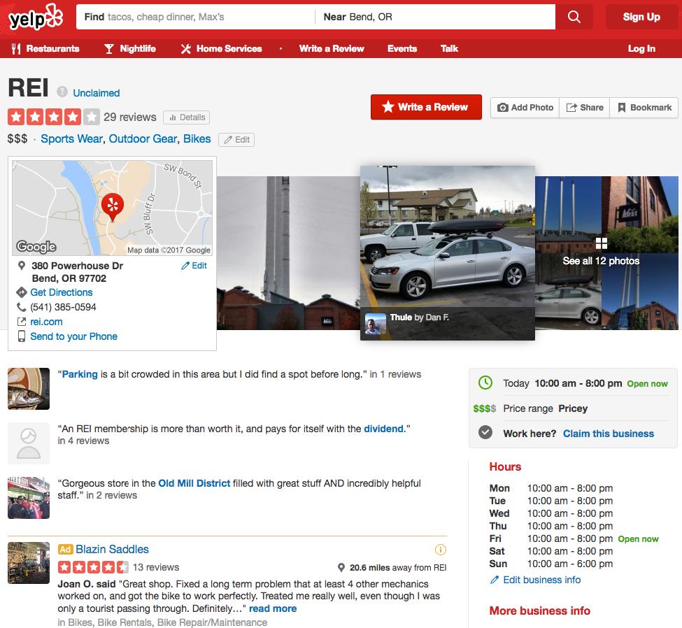 REI Yelp location example