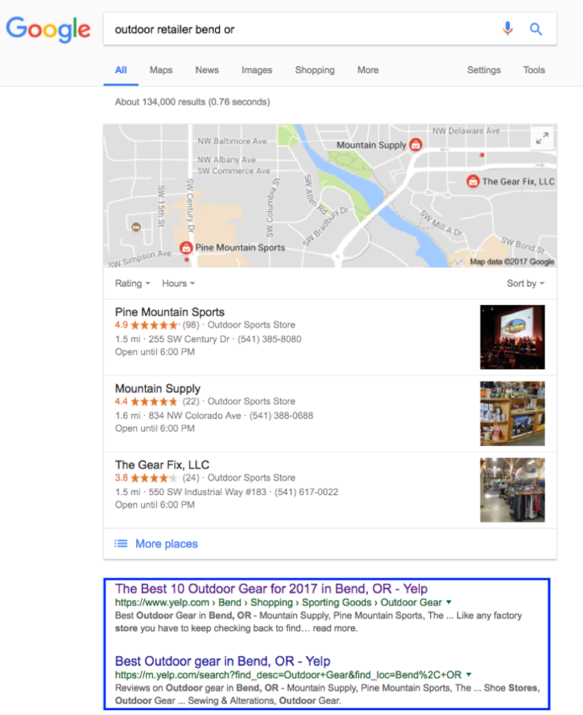 Yelp local search results