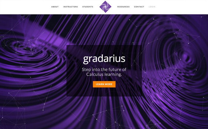 Gradarius | website design | Nicolette Cantillo. Gradarius is an online learning system which helps students understand calculus. I created this promotional website when I was a member of the Big Yellow Taxi design team.