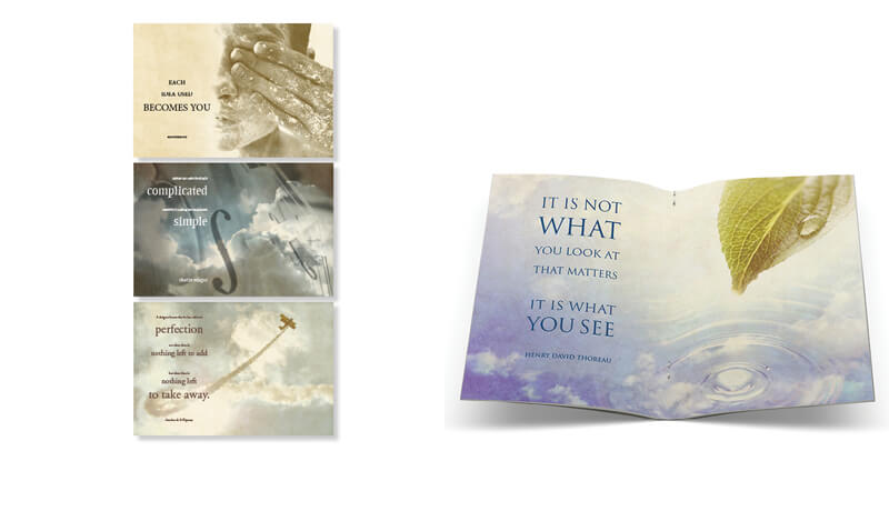 Inspirational Quotes | book design | Nicolette Cantillo. This student assignment was an exercise in type design. It overlayed exaggerated text over softened images for an overall calming feeling.