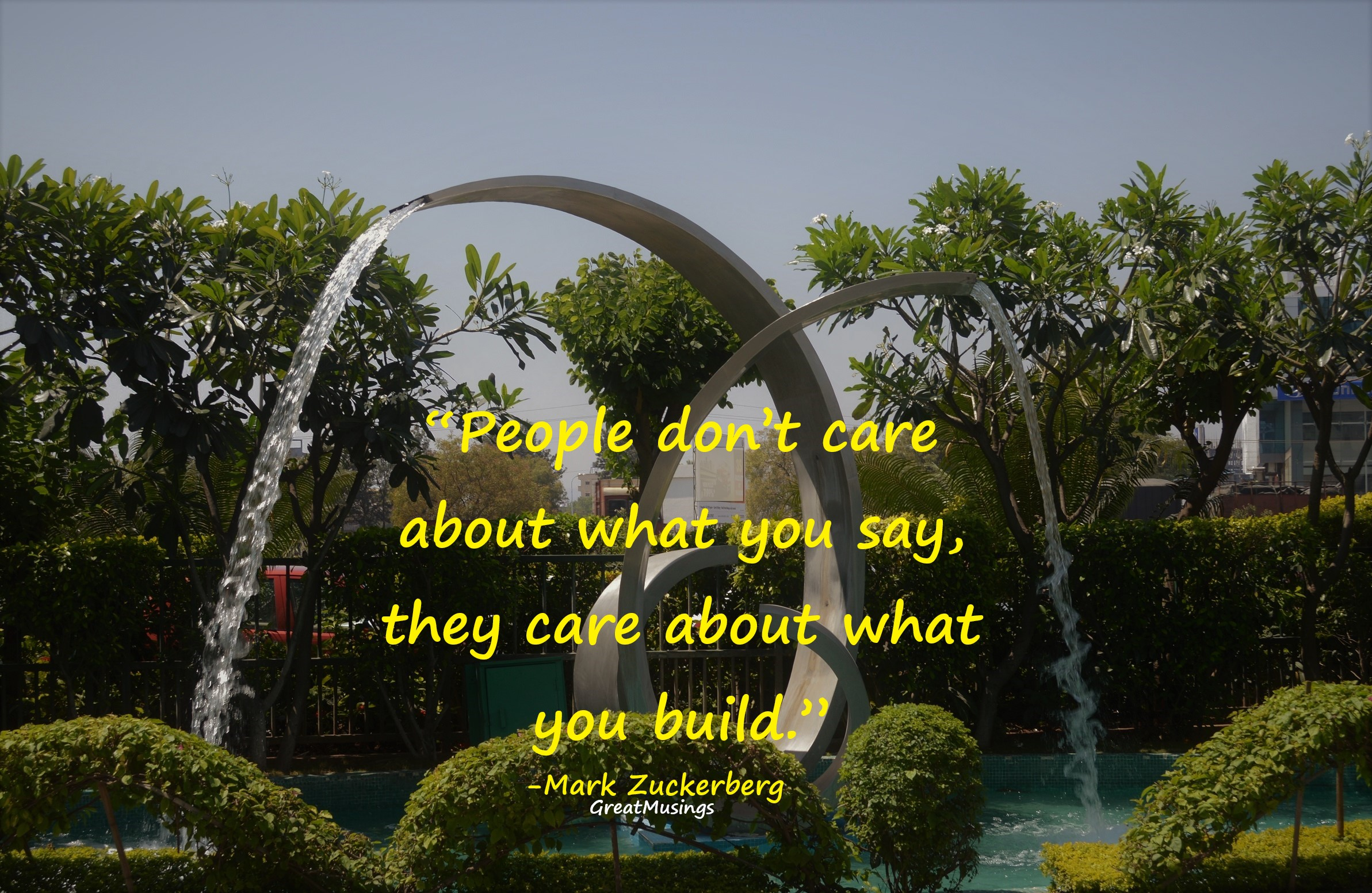 Artificial fountain pic with a quote