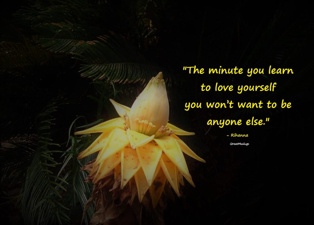 quote by Rihanna on a beautiful flower pic