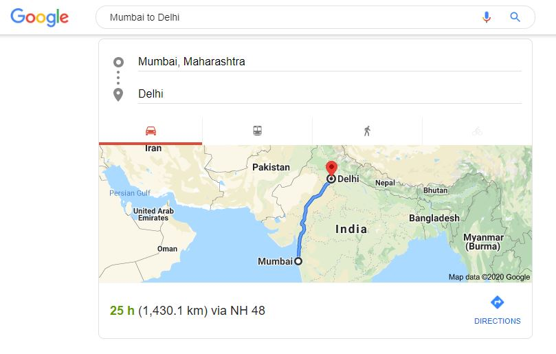 Distance between 2 places via Google Search Bar