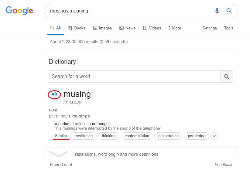 musing text in Google Search Bar