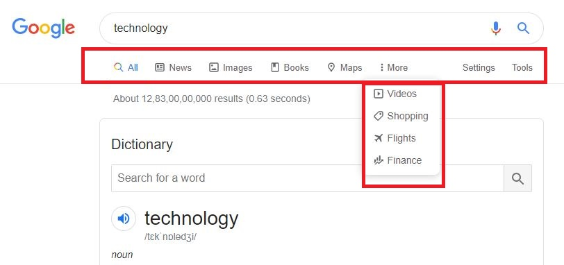 Google Tools highlighted