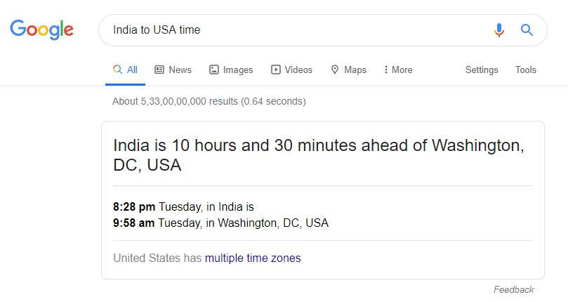 Time Conversion in Google Search Bar