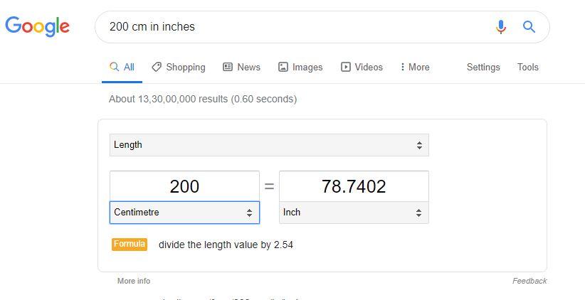 Unit Conversion in Google Search Bar