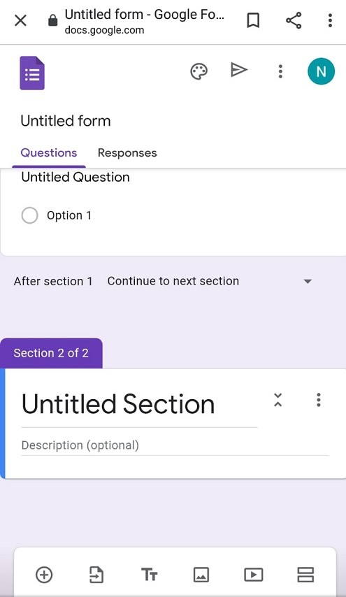 Screenshot to add section in Google Forms