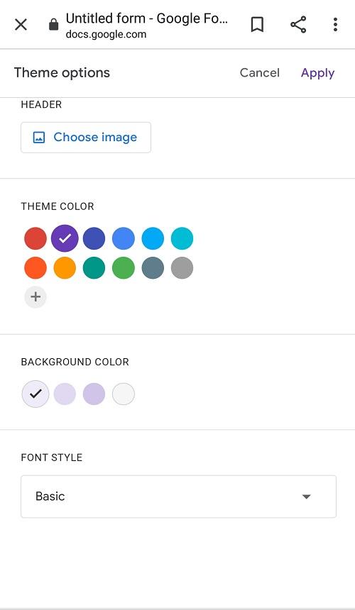 Screenshot for Theme options