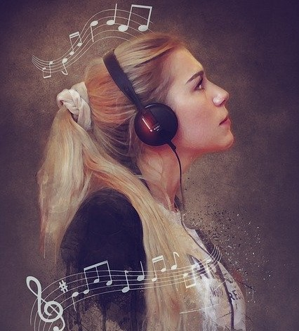 portrait of woman listening music, music as a therapy