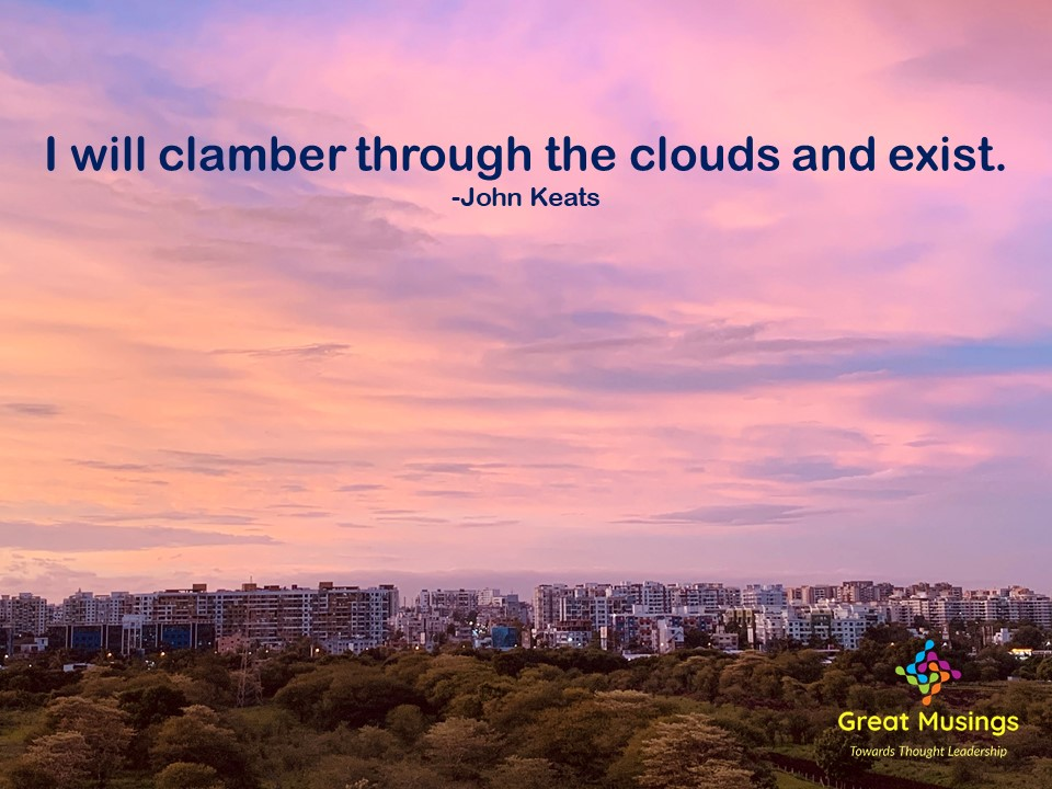 John Keats Clouds Quotes in a pinky sky pic