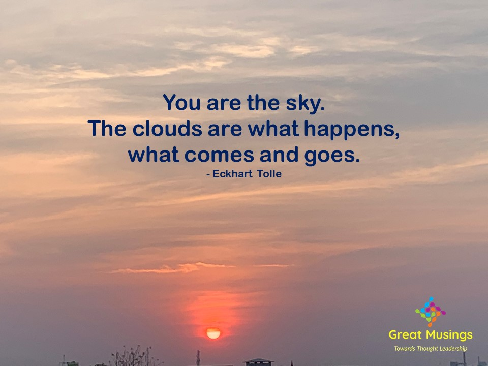Eckhart Tolle Clouds Quotes on colorful cloudy pic with sun
