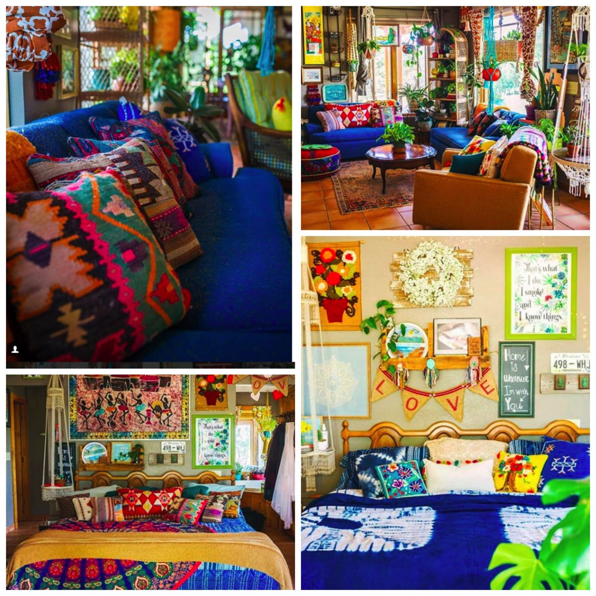 Colorful boho home colorful  blue couch