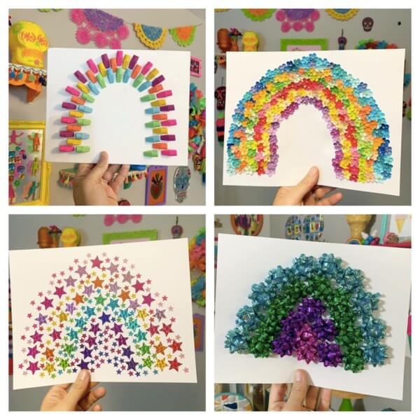 Rainbows made out of craft supplies