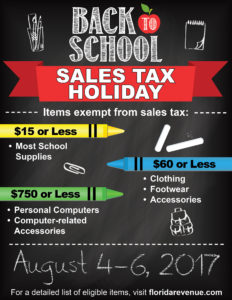 FL TFW Back to School Tax Holiday Poster
