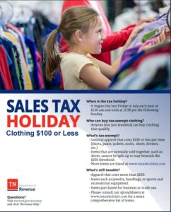 TN Tax Free Weekend Clothing